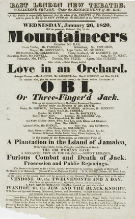 A poster for the East London New theatre;1820