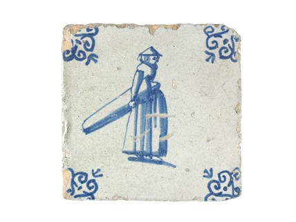 Tin-glazed earthenware wall tile: c. 1641-1660