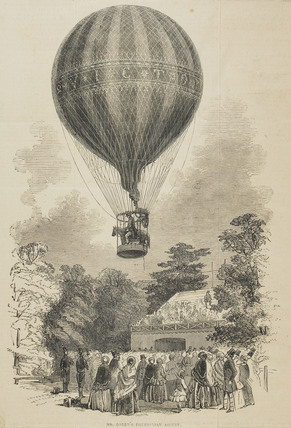 Newspaper cutting featuring an illustration of 'Mr. Green's balloonascent'