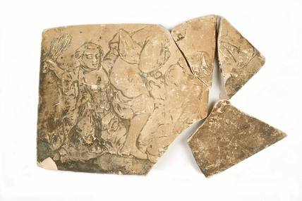 Four fragments of an erotic relief tile: c. 1714-1837