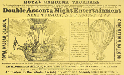 A poster announcing a Double Asent & Night Entertainment; 1838