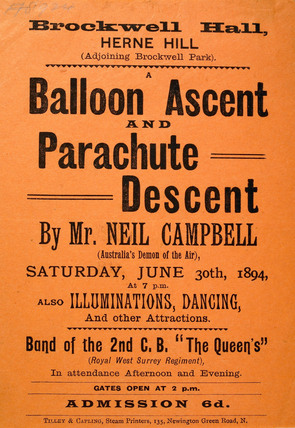 A poster advertising a balloon ascent and parachute