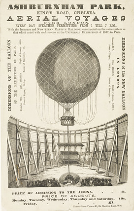 A poster advertising the 'New Steam Captive Balloon' 1868-1870