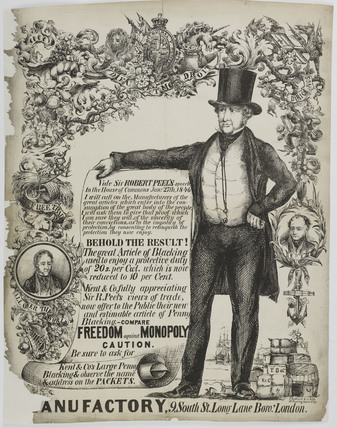 An advertisement for Kent & Co.'s Large Penny Blacking;1846-1850