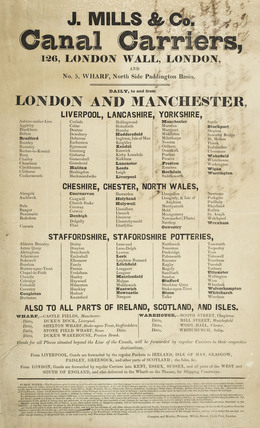 Notice for J. Mills & Co Canal Carriers; 1800-1845