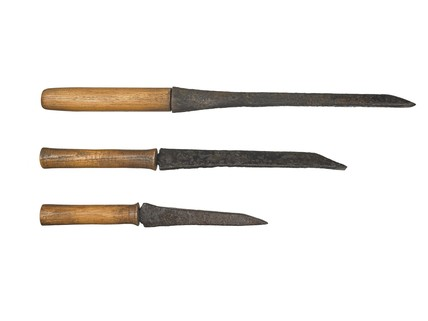 Three Iron mortising chisels