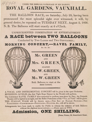 A poster for a balloon race  at the Royal Gardens; 1836