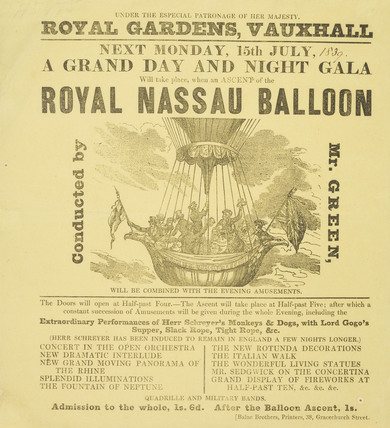 Poster advertising the ascent of the Royal Nassau Ballon from Vauxhall Gardens; 1839