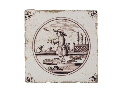 Tin-glazed earthenware tile: c. 1726-1766