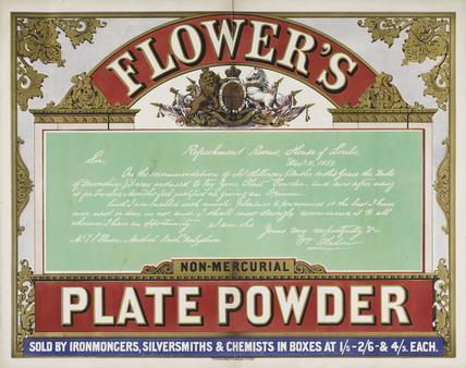 Colour advertisement for Flower's Plate Powder; 1858