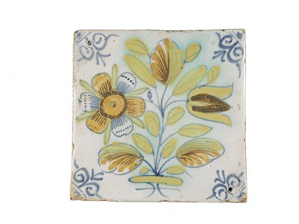 Tin-glazed earthenware tile: c. 1636-1663