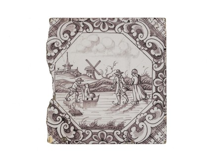 Tin-glazed earthenware wall tile: c. 17th-18th century