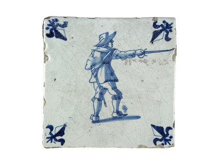 Tin-glazed earthenware wall tile: c. 1651-1700