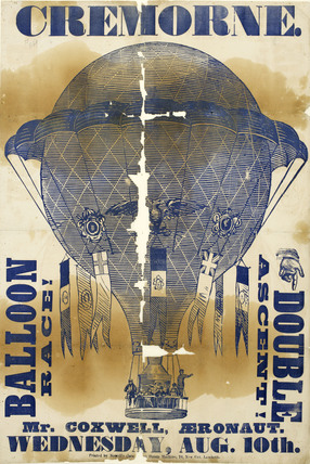Poster announcing a balloon race at Cremorne Gardens;