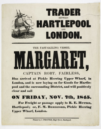 The arrival at Pickle Herring Upper Wharf of the sailing ship 'Margaret' 1845