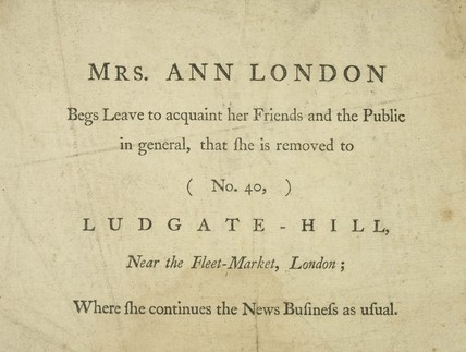 Handbill announcing the new business address: 1701-1750