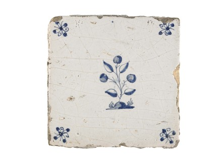 Tin-glazed earthenware tile: c. 1650-1675