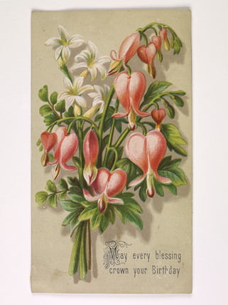 A birthday card of a bunch of flowers; 1885-1905