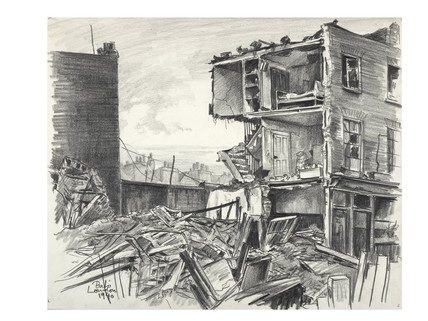 Bombed Houses near Euston Station; 1940