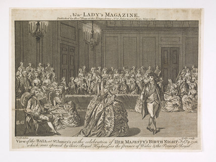 View of the Ball at St. James's on the celebration of Her Majesty's Birth Night; 1786