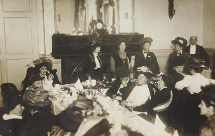 A welcome breakfast for released suffragette prisoners; 1909