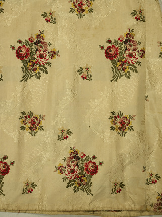 Detail of fabric from a two-piece dress of silk brocade; 1762-1775