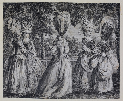 Five women standing and having a conversation; 1779