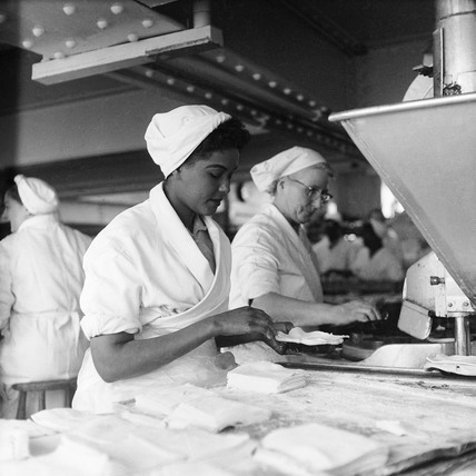 Women working at the Walls Sausage Factory: 1959