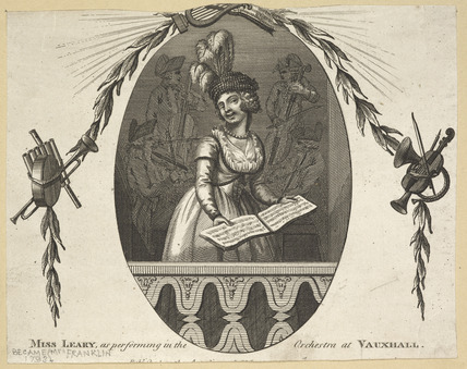 'Miss Leary  performing in the Orchestra at Vauxhall' : c.1830