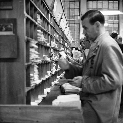 Employee at the Royal Mail Mount Pleasant Sorting Office: c.1965