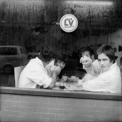 Four men in a cafe in Smithfield Market. c.1965