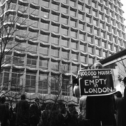Protest outside the Centre Point: 1974