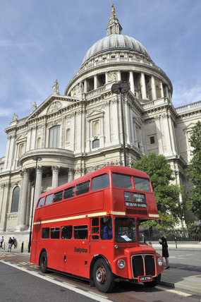 An old Routemaster bus outside St. Pauls Cathedral; 2010
