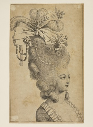 Print of a woman's head and shoulders. From Plocacosmos or the Whole Art on Hair Dressing, 1782