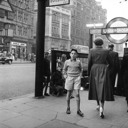 Young boy outside Chancery Lane station; 1957