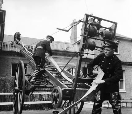 Trainee firemen at the Middlesex Fire Service Training School; 1960