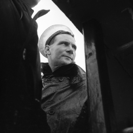 A worker wearing Trinity House uniform; 1956