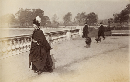 Woman walking in Hyde Park, c. 1890