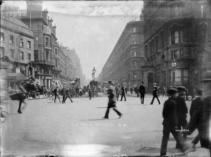 People walking down Victoria Street; c.1905