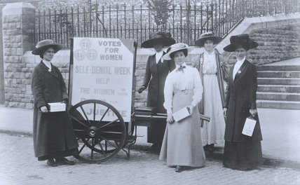 Bristol suffragettes raising money during Self-Denial Week; 1910