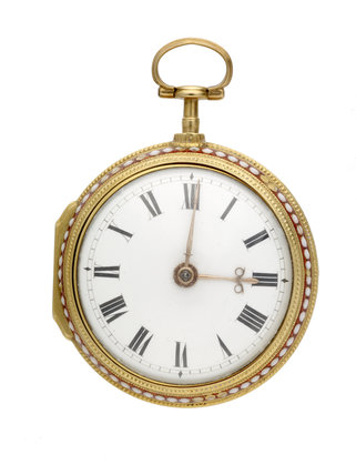 Gold and enamel pair cased watch; c1782
