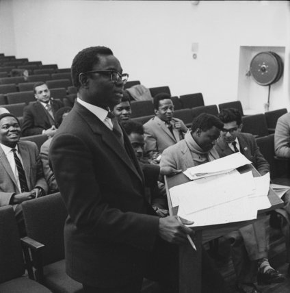 Nigerian law student Jacob C.N. Ugwu at Holborn College of Law; 1963