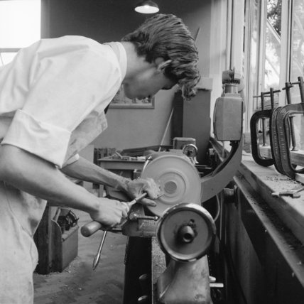 A pupil using a lathe at Spencer Park School, Wandsworth