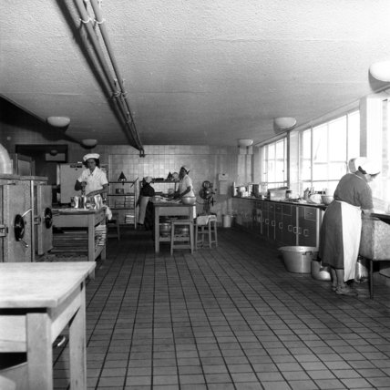 Inside the school kitchen at Kidbrooke School; 1958