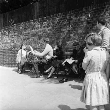 People on the street in Hampstead; 1956-58