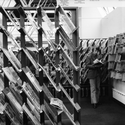Inside the Library at Southhall College of Technology; 1972