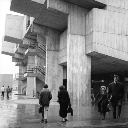 View of Brunel University campus building; 1974