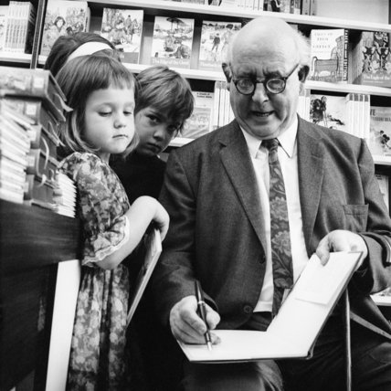 Edward Ardizzone at a book signing; 1970