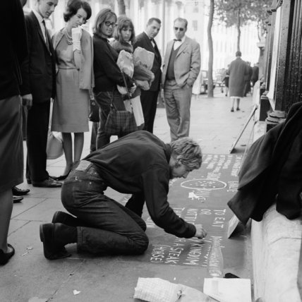 A pavement artist; c 1970