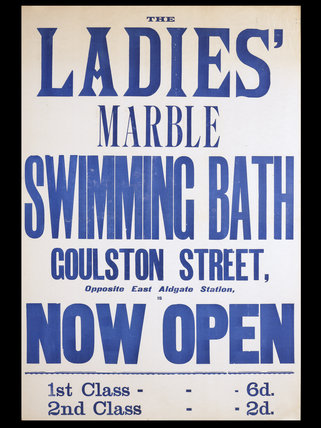 Poster with Ladies' Marble Swimming Bath; 1890's